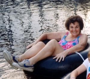 Grandma tubing down the Wisconsin River
